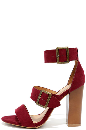 To the Top Burgundy Suede High Heel Sandals at Lulus.com!