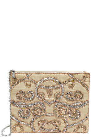 Jazz Age Silver and Beige Beaded Clutch at Lulus.com!