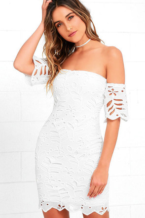 Sweet Retreat Off White Lace Off-the-Shoulder Bodycon Dress at Lulus.com!