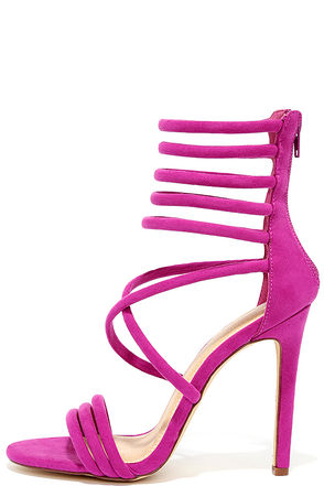 Seoul Sister Purple Suede Caged Heels at Lulus.com!