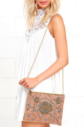 Sparkling Opportunity Gold and Peach Beaded Clutch at Lulus.com!