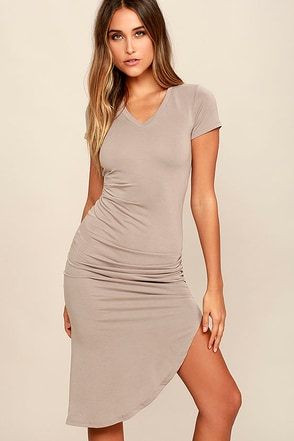 Serene Sunrise Charcoal Grey Bodycon Midi Dress at Lulus.com!