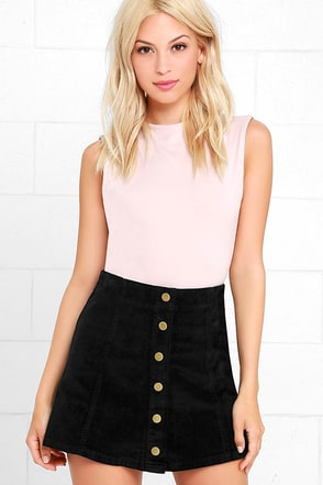 White Crow Austin Black Corduroy Mini Skirt at Lulus.com!