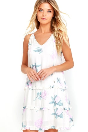 Mink Pink Woratah Cream Floral Print Shift Dress at Lulus.com!
