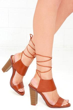 Moon Hop Cognac Lace-Up Heels at Lulus.com!