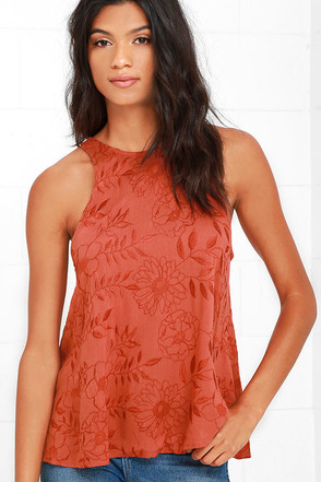 Lucy Love Charlie Rust Red Embroidered Tank Top at Lulus.com!