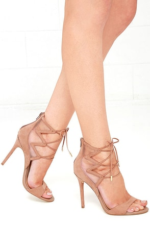 Daya by Zendaya Anderson Blush Suede Lace-Up Heels at Lulus.com!