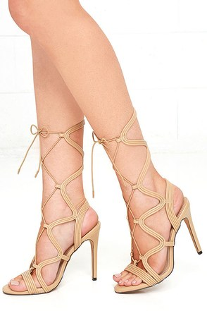 So to Chic Nude Lace-Up Heels at Lulus.com!