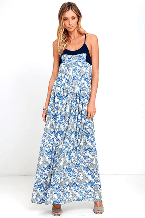 Posy Perfect Blue Floral Print Maxi Dress at Lulus.com!