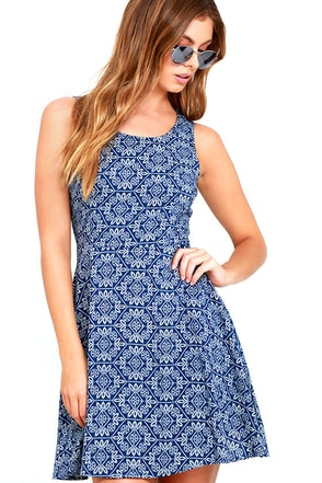 Good Love Blue and White Print Skater Dress at Lulus.com!