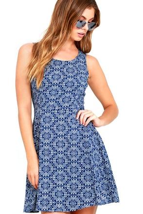 Good Love Blue and White Print Skater Dress at Lulus.com!