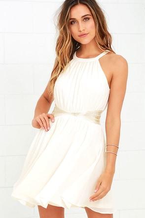 One More Night Cream Beaded Dress at Lulus.com!