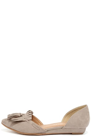 CL by Laundry Seline Dark Taupe Suede D'Orsay Flats at Lulus.com!