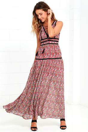 Wide Open Spaces Red Paisley Print Maxi Dress at Lulus.com!
