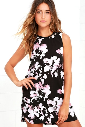 RVCA Blake Black Floral Print Shift Dress at Lulus.com!