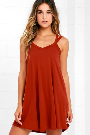 RVCA Like It Rust Orange Swing Dress at Lulus.com!