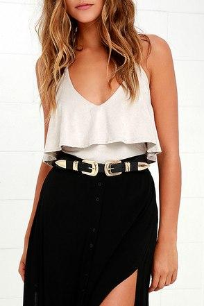 Fantastic Find Black and Gold Double Buckle Belt at Lulus.com!