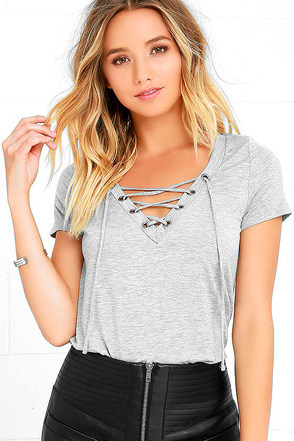 Enjoy the Ride Heather Grey Lace-Up Top at Lulus.com!