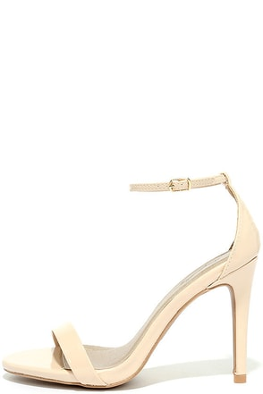 All-Star Cast Nude Patent Ankle Strap Heels at Lulus.com!