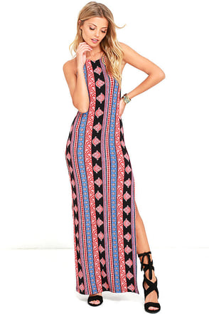 All You Black and Rust Red Print Maxi Dress at Lulus.com!