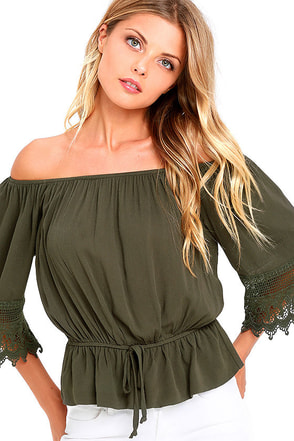 Magic Woman Olive Green Lace Off-the-Shoulder Top at Lulus.com!