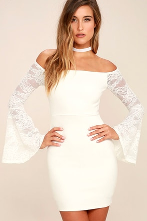 Special Place White Lace Off-the-Shoulder Dress at Lulus.com!