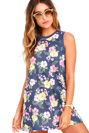 Rhythm Tropics Denim Blue Floral Print Dress at Lulus.com!