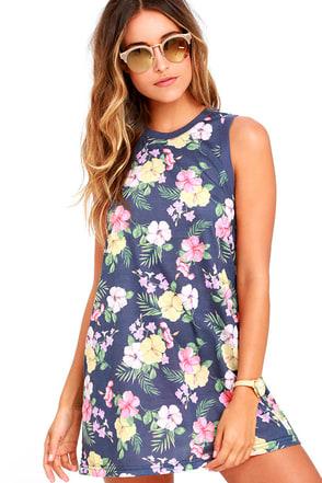 Rhythm Tropics Denim Blue Floral Print Dress at Lulus.com!