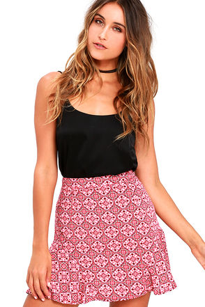 Rhythm Century Rose Pink Print Mini Skirt at Lulus.com!