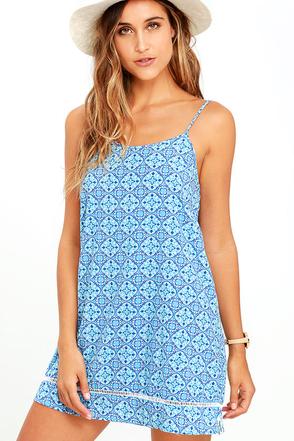 Rhythm Century Blue Print Shift Dress at Lulus.com!