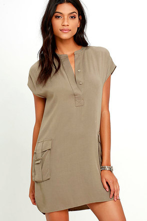 Sahara Safari Khaki Shift Dress at Lulus.com!