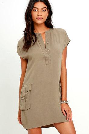 Sahara Safari Khaki Shift Dress at Lulus.com!