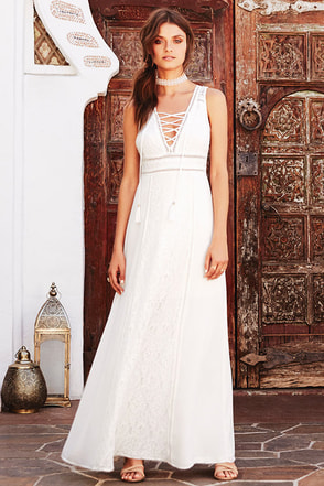 Make You Miss Me White Lace Maxi Dress at Lulus.com!