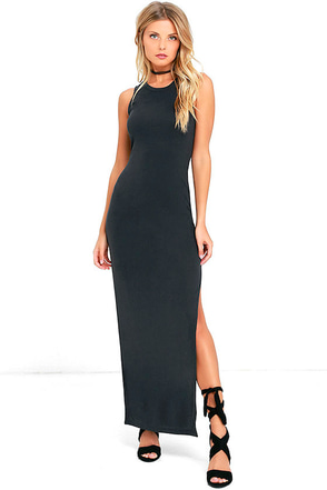 Fifth Avenue Charcoal Grey Maxi Dress at Lulus.com!