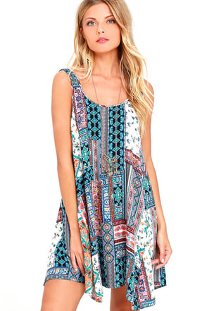 Boho Heart Turquoise Print Shift Dress at Lulus.com!