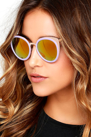 To the Future Gold and Lavender Mirrored Sunglasses at Lulus.com!