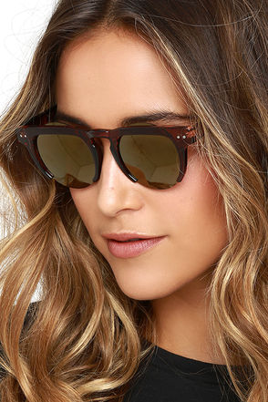 Saratoga Brown and Dark Gold Mirrored Sunglasses at Lulus.com!