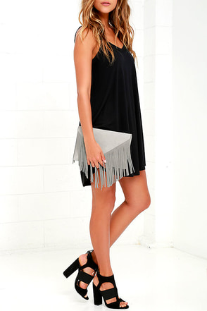 Fringe Benefits Grey Clutch at Lulus.com!