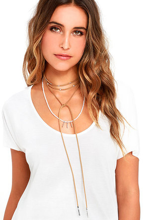 Wrap Battle Ivory and Tan Layered Necklace at Lulus.com!
