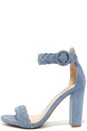 Simple Things Blue Suede Ankle Strap Heels at Lulus.com!