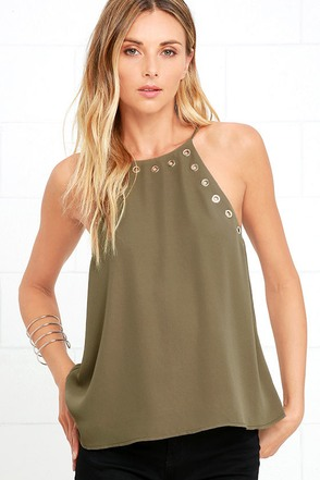 Have We Grommet? Olive Green Tank Top at Lulus.com!