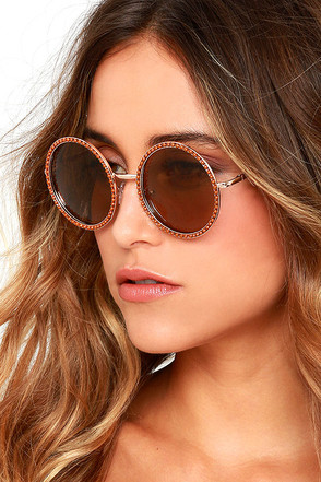 Free Love Gold and Brown Round Sunglasses at Lulus.com!