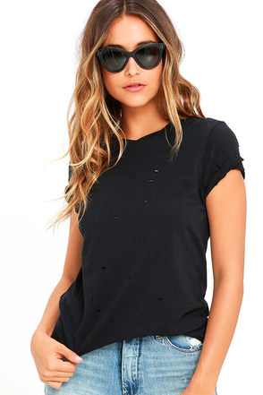 In the Raw Distressed Washed Black Tee at Lulus.com!