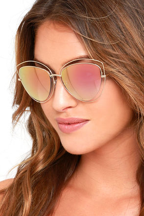 Melinda Gold and Pink Mirrored Sunglasses at Lulus.com!