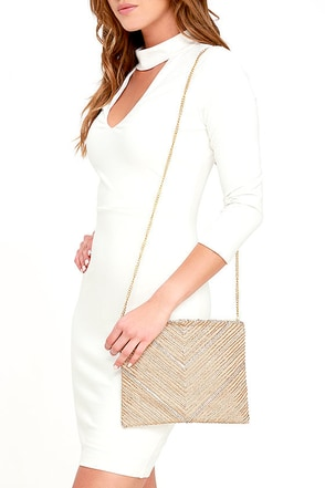 Give Me Everything Beige Beaded Clutch at Lulus.com!