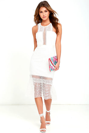 Make It Happen White Lace Midi Dress at Lulus.com!