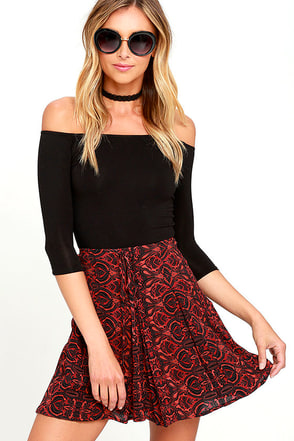 On Purpose Rust Red Print Lace-Up Mini Skirt at Lulus.com!