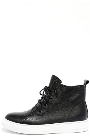 Dirty Laundry Festival Black Leather High-Top Sneakers at Lulus.com!
