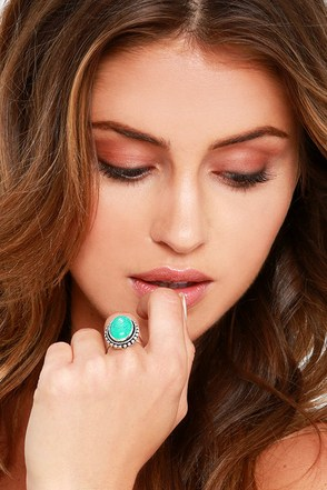 Fairy Circle Silver and Turquoise Ring at Lulus.com!