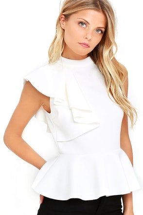 Forever More White Peplum Top at Lulus.com!